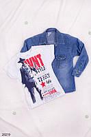 Детская джинсовая рубашка с футболкой для мальчика 3-7лет