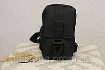 Сумочка - борсетка для карточек и телефона скрытого ношения (плечевая) Black (9119-black), фото 2