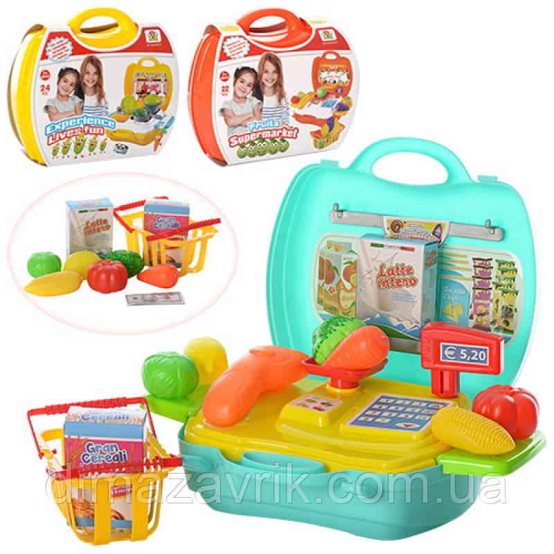 Магазин MJX8015-7016-6015 22 дитячий, 3 види (продукти, посуд), у валізі 24-22-10,5 см