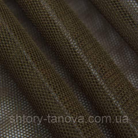 Тюль сетка, тёмно-коричневый