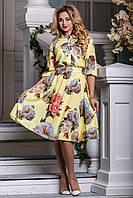 Эффектное цветочное женское платье (44-50) ,доставка по Украине