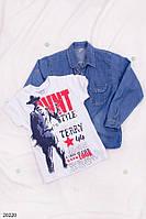 Детская джинсовая рубашка с футболкой для мальчика 8-11лет