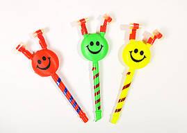 Карнавальный язычек свисток в форме смайлика с ушками.
