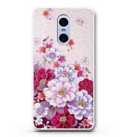 Панель накладка силиконовая для Xiaomi Redmi Note 4x с рисунком нежные цветы