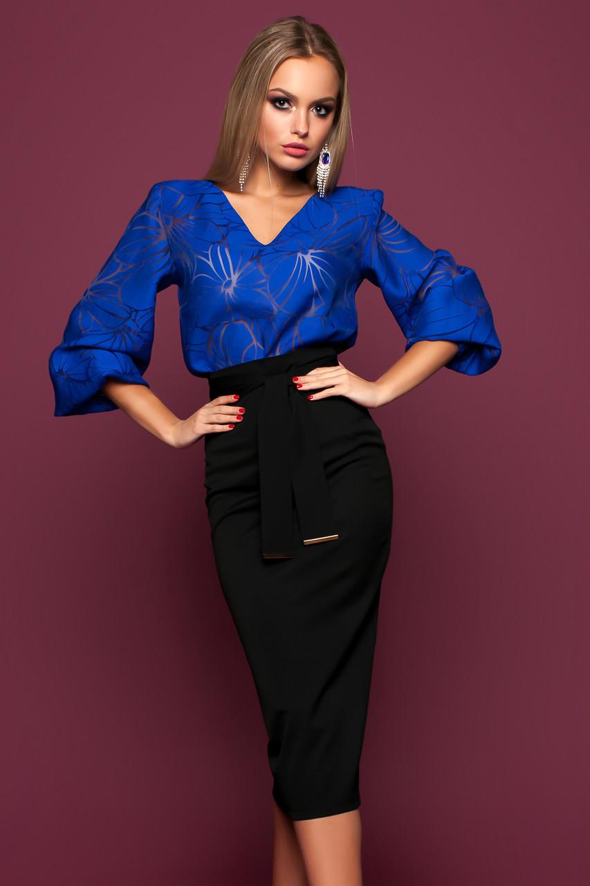 c02fa3016bf Богатая Блуза с Пышными Рукавами Лен на Органзе Электрик S-XL - Ukraine In  Trend