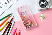 Чехол Бампер Glitter Жидкий блеск для Samsung Galaxy J7 Neo / J701F с блестками звезды розовый