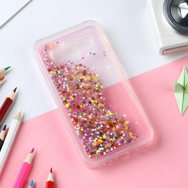 Чехол Glitter для Samsung Galaxy J3 2016 / J300 / J320 Бампер жидкий блеск звезды розовый