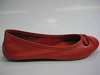 Кожаные женские балетки красного цвета, фото 1
