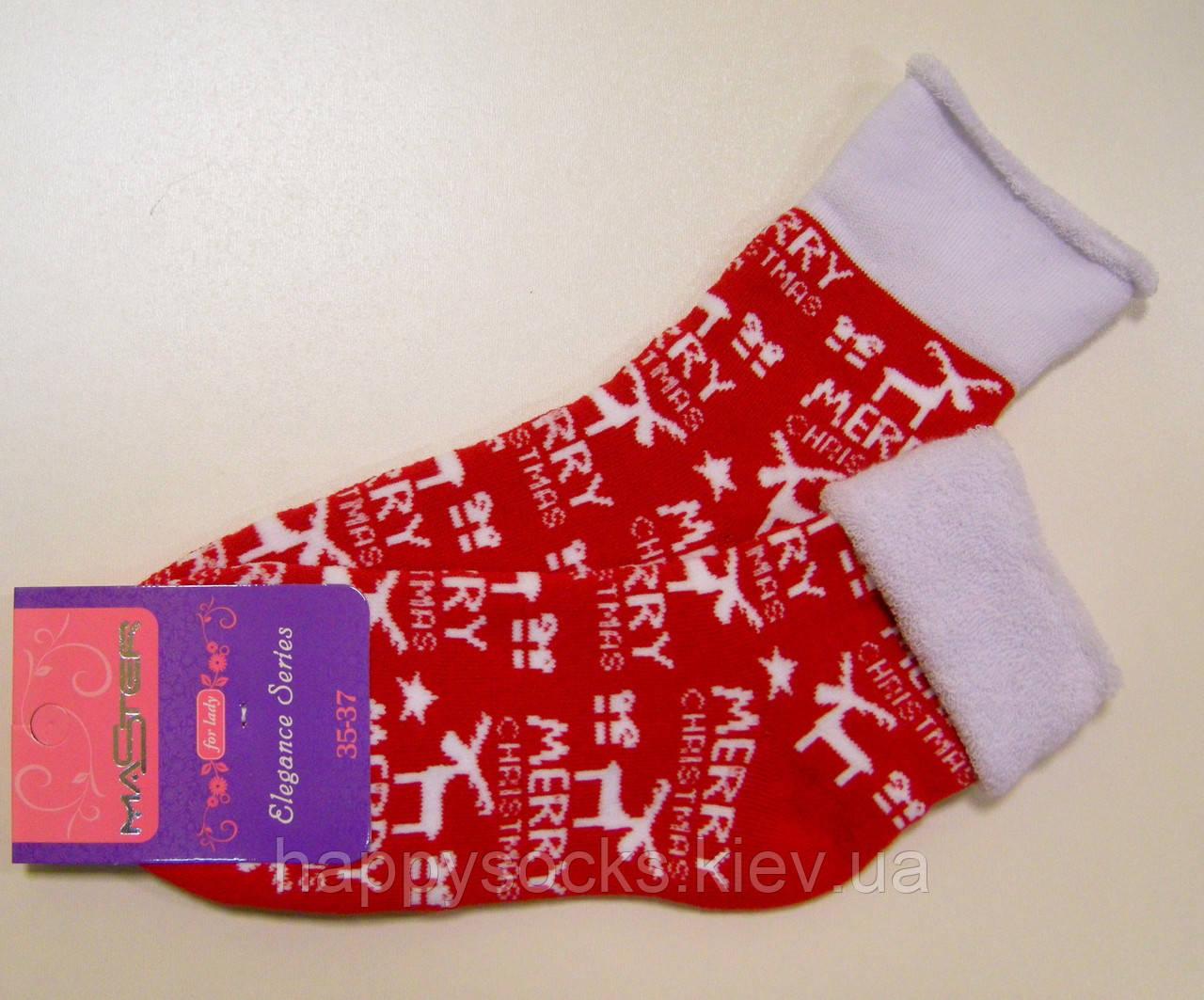 Яркие новогодние махровые хлопковые носки красного цвета