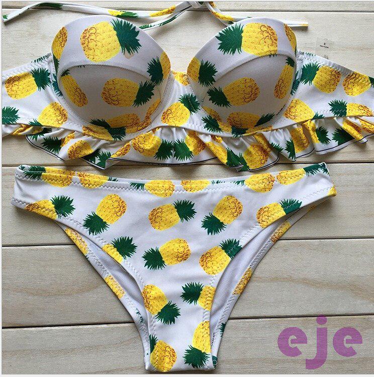 Раздельный купальник ананасовый принт.   Фабричный Китай   Размеры 42-44