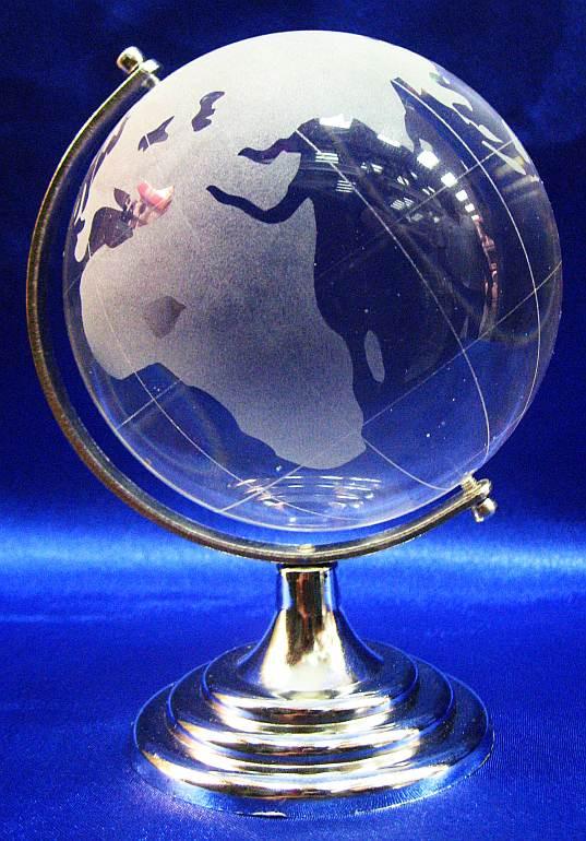 Глобус хрустальный белый (13х8,5х8,5 см) - Магазин подарков Часики в Харькове