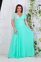 Платье вечернее в пол с гипюром мята батал