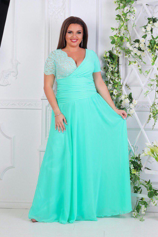 cf2db44f4f9d8f2 Платье вечернее в пол с гипюром мята батал - Оптовый интернет-магазин