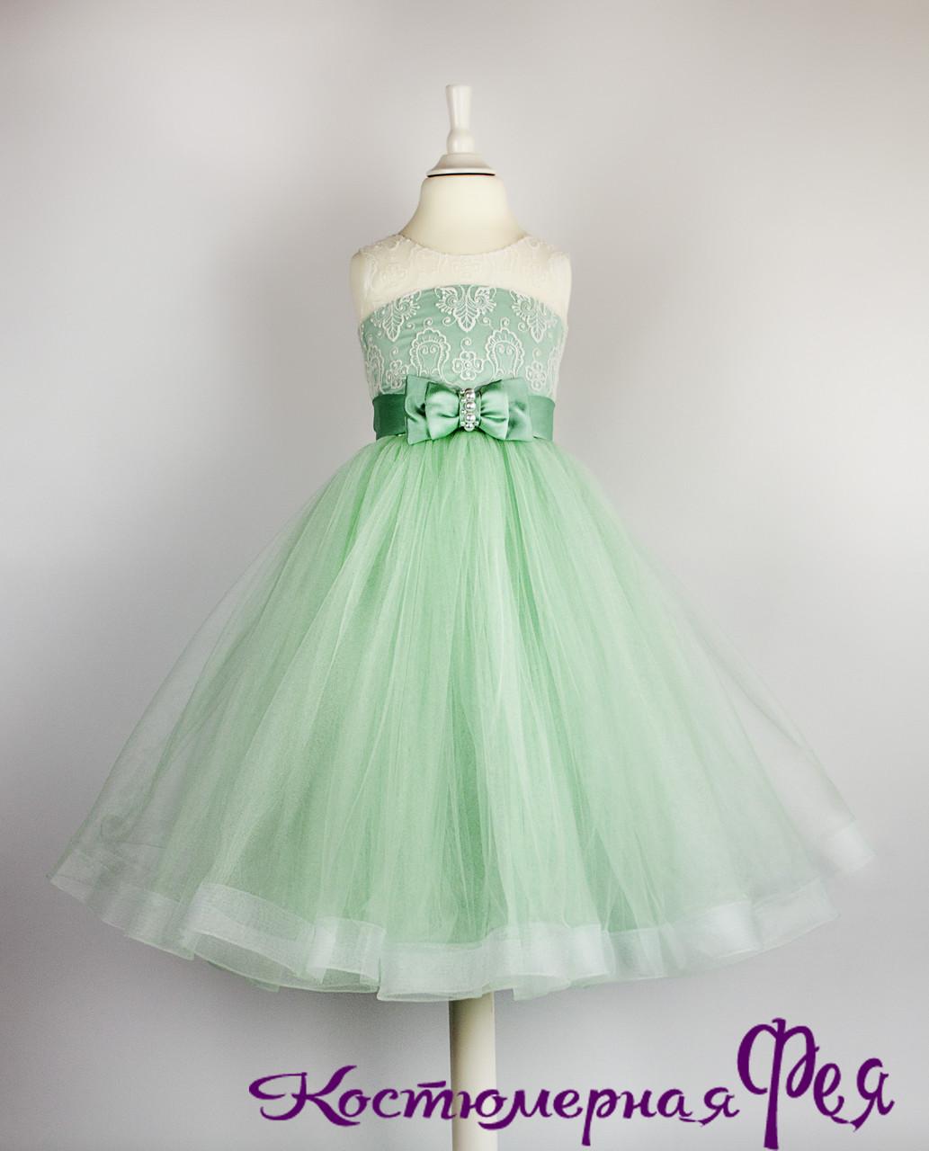 Детское нарядное пышное платье с кружевом (код 3/144)