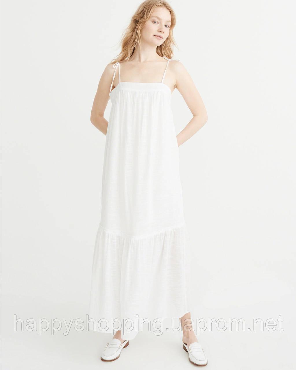 Женское летнее  белое хлопковое макси платье Abercrombie & Fitch