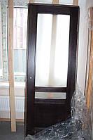 Дверное полотно, массив сосны, венге, со стеклом (Д-63)