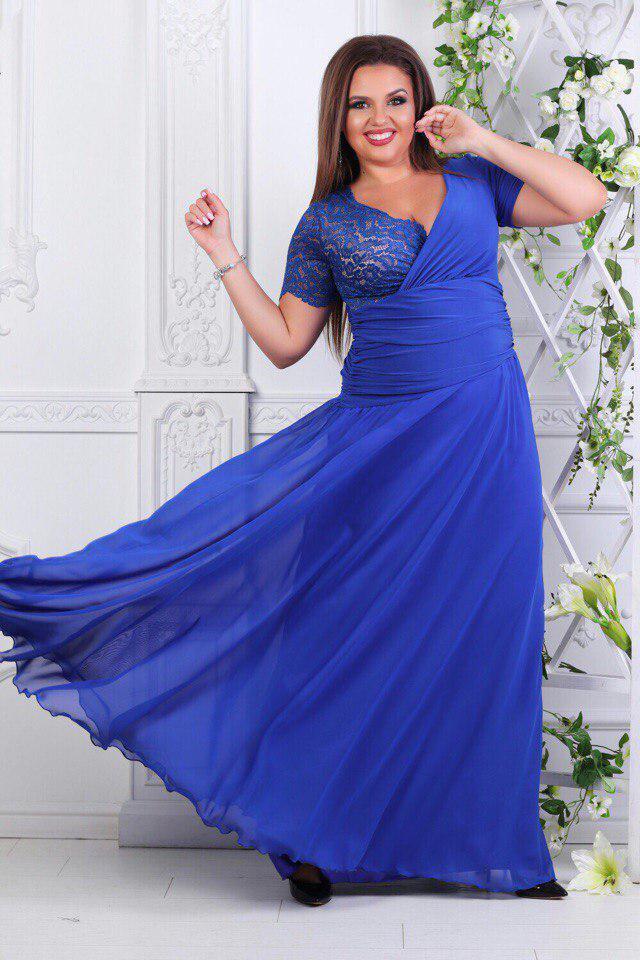 Платье вечернее в пол с гипюром батал электрик