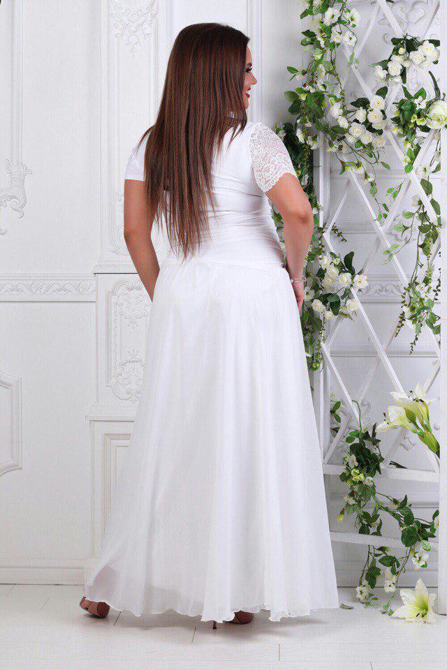 11fab4df264d6f8 Купить Платье вечернее в пол с гипюром батала белое оптом и в ...