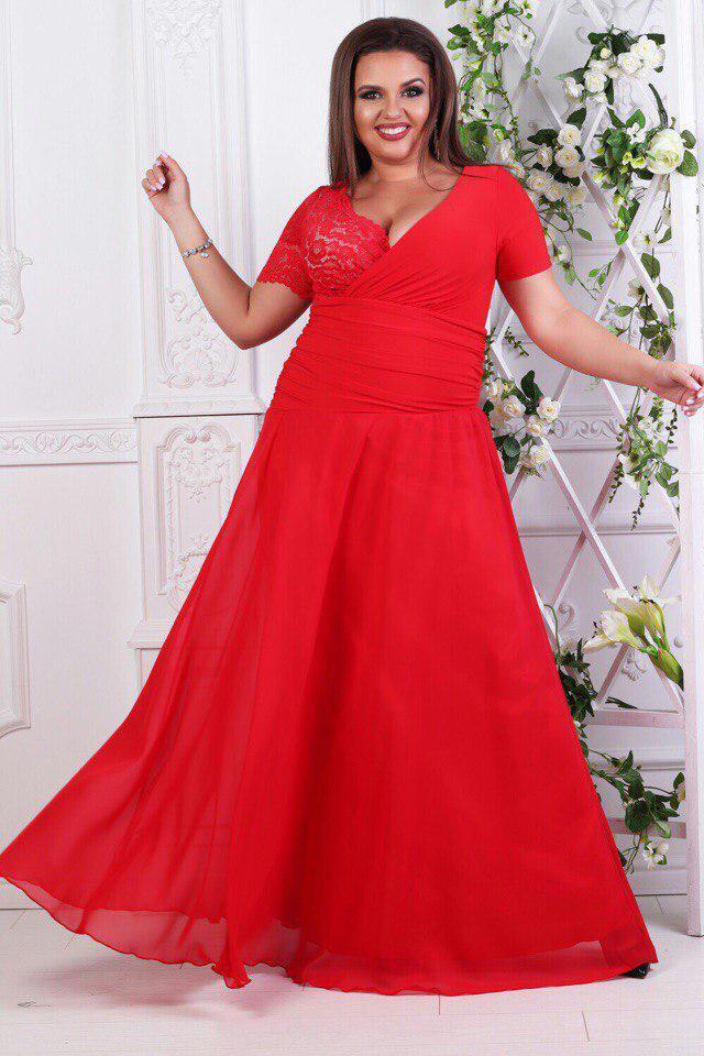 5f0ed75af604b4e Платье вечернее в пол с гипюром батал красное - Оптовый интернет-магазин