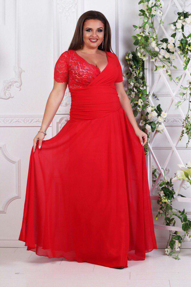 2b1190d12ce Купить Платье вечернее в пол с гипюром батала красное оптом и в ...