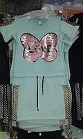 Платье-туника детская стильная с ярким блестящим  принтом  для девочки
