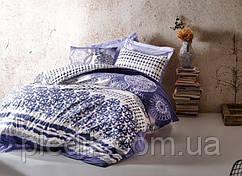 Двуспальное постельное белье 200х220 Cotton box Ранфорс Lucca Mavi