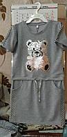 """Платье-туника детская стильная с ярким блестящим  принтом """"Медвежонок"""" для девочки"""
