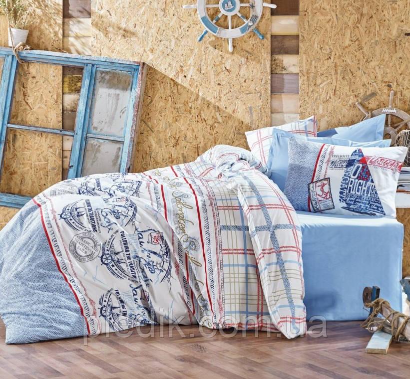 Купить Двуспальное постельное белье 200х220 Cotton box Ранфорс Seaport Mavi