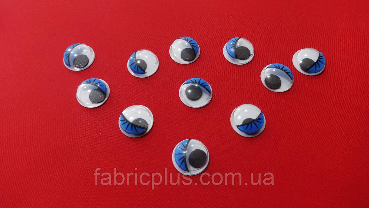 Глазки круглые с ресничками 12 мм (голубые)
