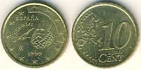 Монета 10 евроцентов Испания