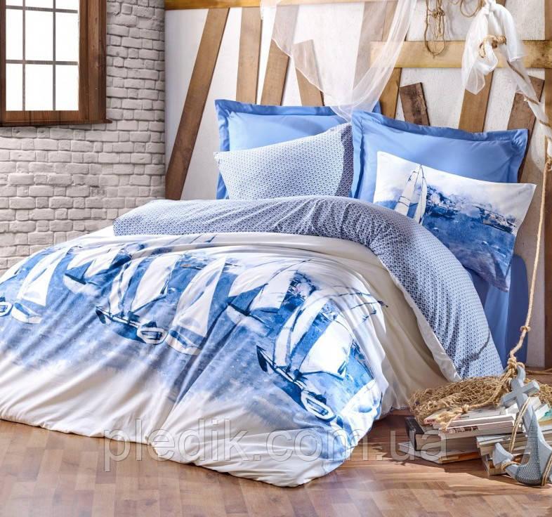 Купить Двуспальное постельное белье 200х220 Cotton box Ранфорс Pusla Mavi