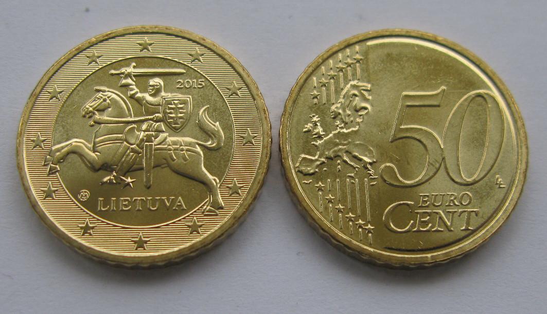 Монета 50 евроцентов Литва 2015г.