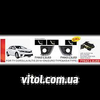 Фары дополнительные для автомобиля TY-662-L2LED марка Toyota Corolla 2014-, накладки с DRL+Повороты, электропроводка, автооптика, автомобильные фары