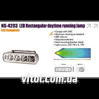 Фары дополнительные для автомобиля дневного света NS-4203 DRL 2x4W, 12V, размер 145*45 мм, автооптика, автомобильные фары