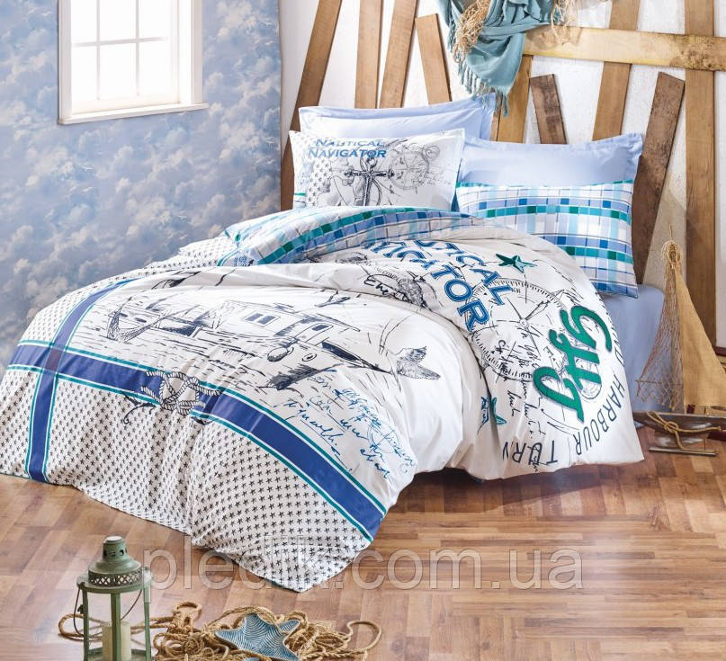 Двуспальное постельное белье 200х220 Cotton box Ранфорс Vira Yesil
