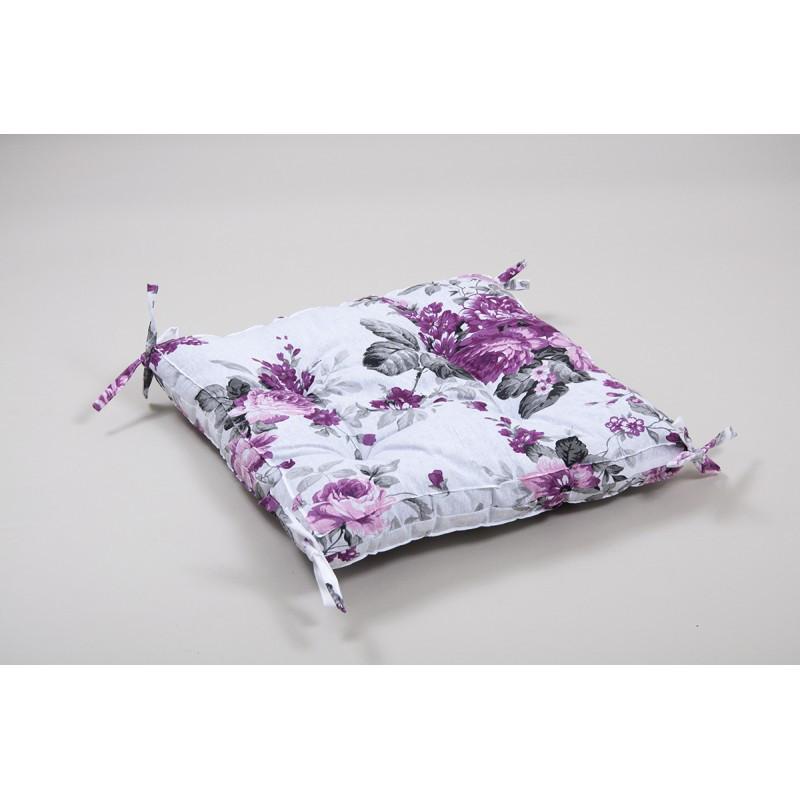 Подушка на стул Lotus 45*45 - Fiona с завязками лиловый