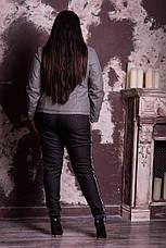 Серая косуха из эко-кожи для полных женщин Спираль, фото 2