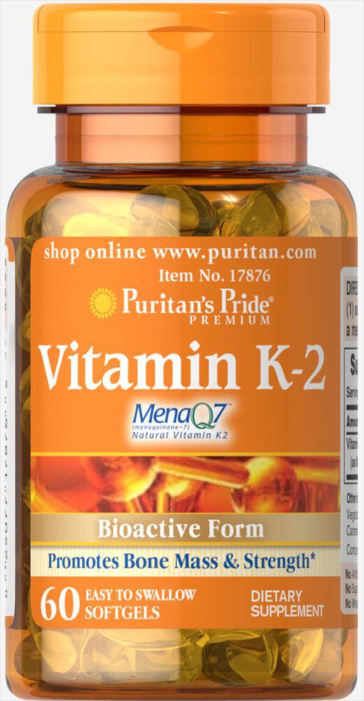 Витамин К-2, Vitamin K-2 (MenaQ7) 50 mcg, Puritan's Pride, 60 капсул