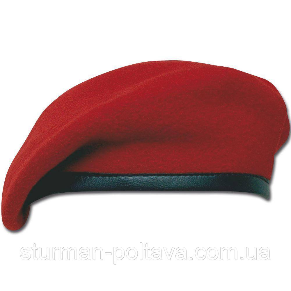 Берет мужской  армейский  безшовный  шерстяной  цвет  красный MFH   Германия