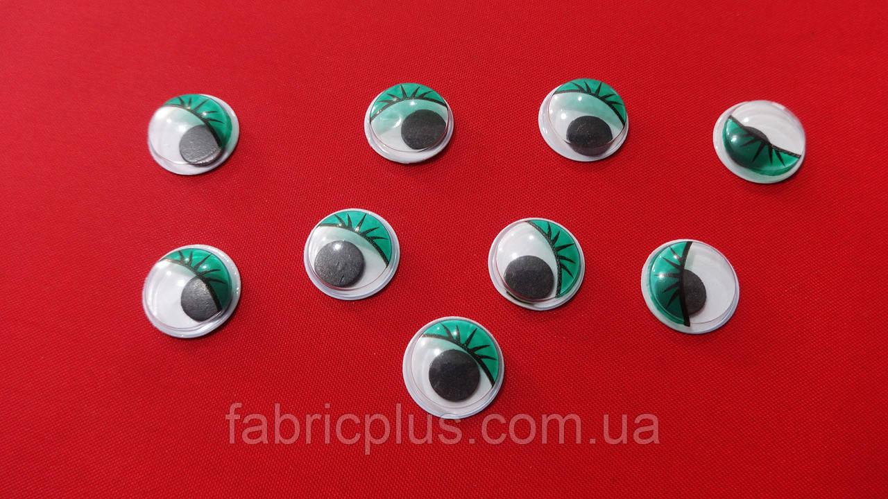Глазки круглые с ресничками 12 мм (зеленые)