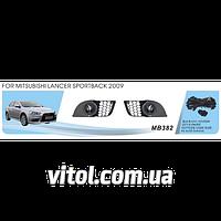 Фары дополнительные для автомобиля MB-382, модель Mitsubishi Lancer Sportback, Evolution X, 2009+, электропроводка, автооптика, автомобильные фары