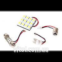 Светодиодная лампа для автомобильных фар PULSO LP-85012 софитная- матрица, 12 SMD- 5050, 12v, White, автомобильная лампа, лампа для авто