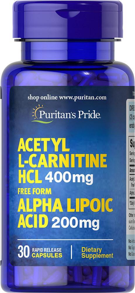 Карнитин и Альфа-Липоевая Кислота, Acetyl L-Carnitine 400 mg with Alpha Lipoic Acid 200 mg, Puritan's Pride