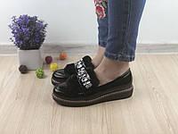 Туфли лоферы женские Tiana черные лаковые