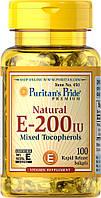 Витамин Е-200 натуральный смесь токоферолов, Vitamin E-200 iu Mixed Tocopherols, Puritan's Pride, 100 капсул