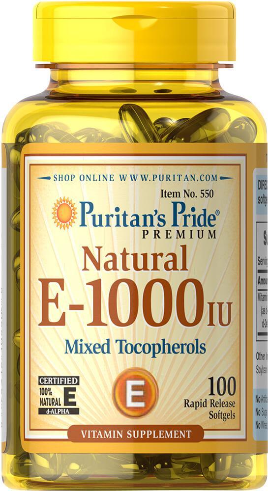 Витамин Е-1000 натуральный смесь токоферолов, Vitamin E-1000 iu Mixed Tocopherols, Puritan's Pride, 100 капсул