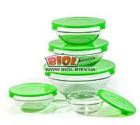 Набор судков (5шт.) из стекла с пластиковыми крышками (цвет крышек - зеленый) Frico FRU-432-1