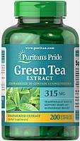 Экстракт зелёного чая в капсулах стандартизированный, Green Tea Extract 315 mg, , Puritan's Pride, 200 капсул