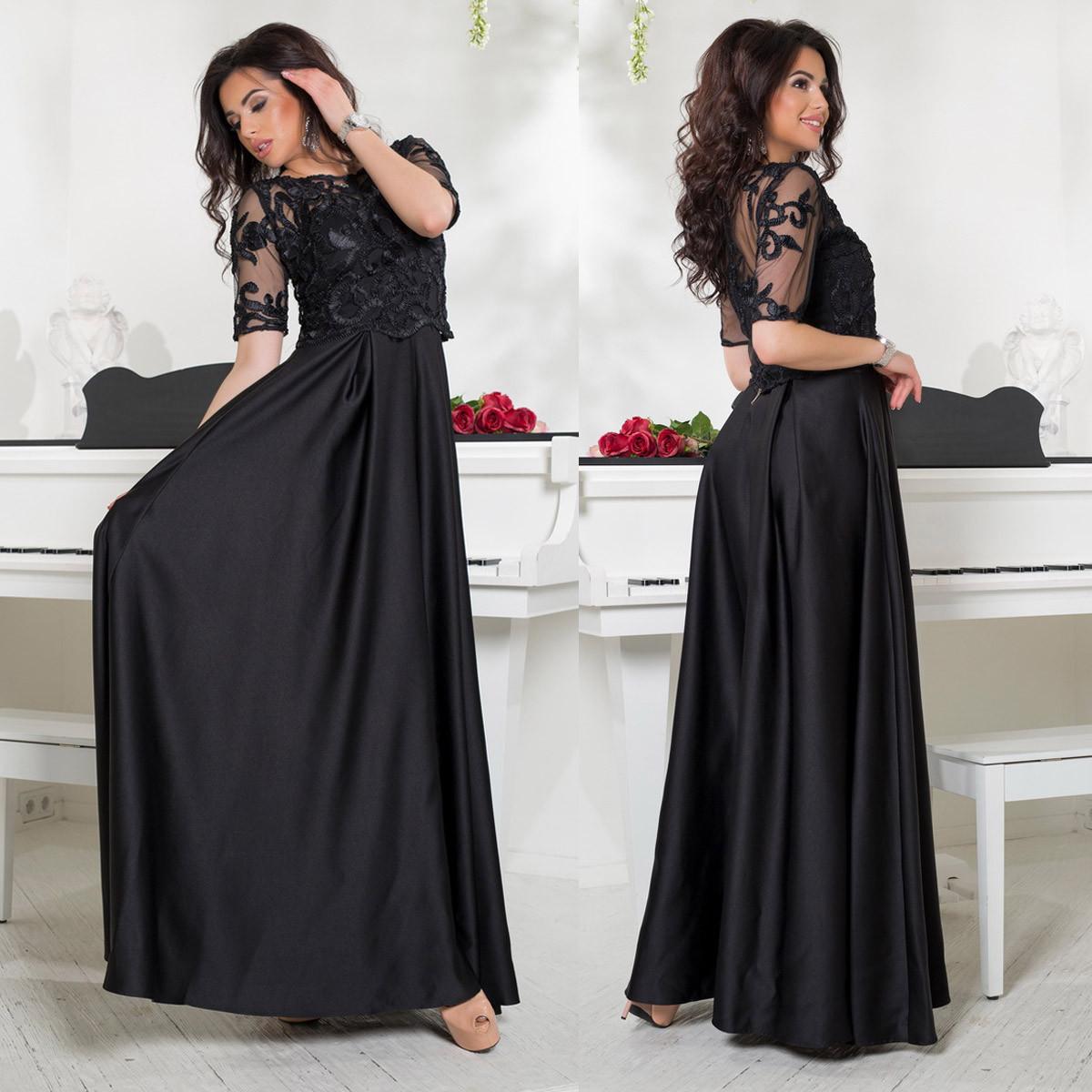 589762314a5 Черное атласное длинное выпускное платье