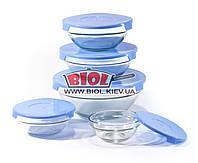 Набор судков (5шт.) из стекла с пластиковыми крышками (цвет крышек - синий) Frico FRU-432-2